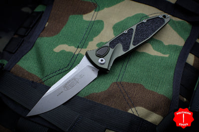 Microtech OD Green Socom Elite Auto (OTS) Single Edge Folder Stonewash Blade 160A-10 OD