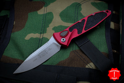 Microtech Red Socom Elite Auto (OTS) Single Edge Folder Stonewash Blade 160A-10 RD