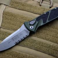 Microtech OD Green Socom Elite Auto (OTS) Single Edge Stonewash Part Serrated Blade 160A-11 OD