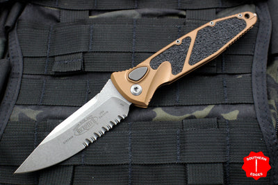 Microtech Tan Socom Elite Auto (OTS) Single Edge Stonewash Part Serrated Blade 160A-11 TA