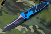 Microtech Blue Socom Elite Auto (OTS) Single Edge Black Blade 160A-1 BL