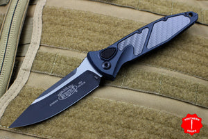 Microtech Socom Elite Auto (OTS) Single Edge Carbon Fiber Inlay Tactical Black Blade 160A-1 CFI