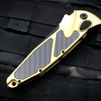 Microtech Socom Elite Auto OTS Champagne Gold Single Edge Carbon Fiber Inlay Black Blade 160A-1 CGCFI