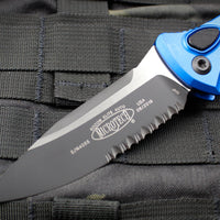 Microtech Socom Elite Auto (OTS) Blue Single Edge Folder Black Part Serrated Blade 160A-2 BL