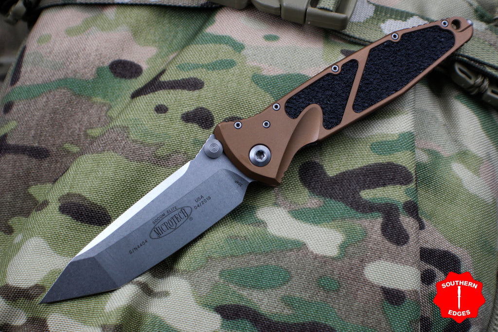 Microtech Tan Socom Elite Tanto Edge Manual Folder Stonewash Blade 161-10 TA