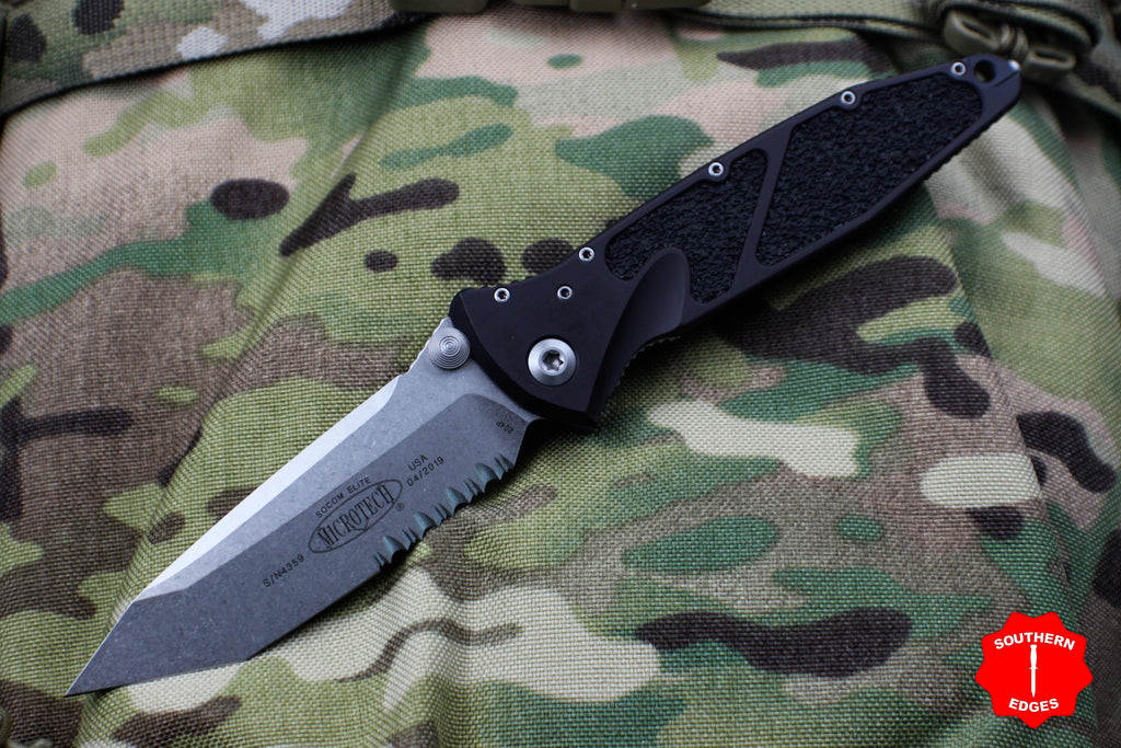 Microtech Socom Elite Tanto Edge Manual Folder Stonewash Part Serrated Blade 161-11