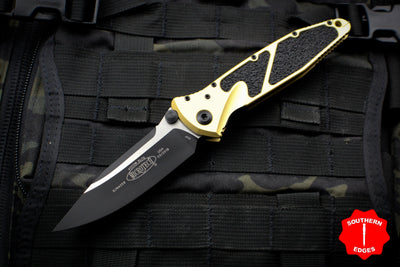 Microtech Socom Elite Single Edge Manual Folder Champagne Gold Handle Two-tone Black Blade 160-1 CG