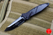 Microtech Socom Elite Black Tanto Manual Carbon Fiber Inlay Black Part Serrated Blade Black Hardware 161-2 CFI