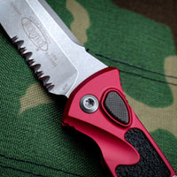 Microtech Socom Elite Red Tanto Edge Auto OTS Stonewash Part Serrated Blade 161A-11 RD