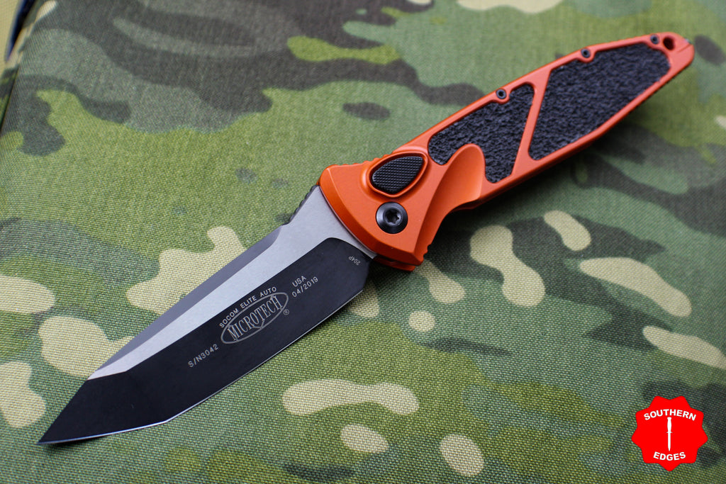 Microtech Orange Socom Elite Auto (OTS) Tanto Edge Black Blade 161A-1 OR