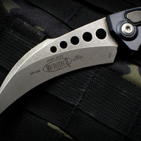 Microtech Hawk Out The Side (OTS) Auto Karambit Black Handle Apocalyptic Blade 166-10 AP