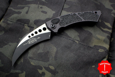 Microtech Hawk Out The Side (OTS) Auto Karambit Black Handle Black Blade Tactical HW 166-1 T