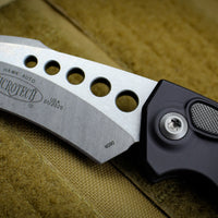 Microtech Hawk Out The Side (OTS) Auto Karambit Smooth Black Handle Stonewash Blade 166S-10