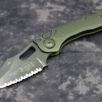 Microtech Stitch Green Knife Full Serrated Green Blade 169-3 GR
