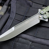 Microtech Tachyon III Butterfly Knife Green Chasis, Blade, and HW 173-1 GR OUT OF PRODUCTION