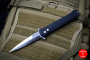 Protech Large Don Black Handle Satin Blade and Hardware 1921-SATIN