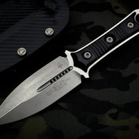Microtech SBD Double Edge Dagger Borka Collaboration Stonewash Fixed Blade