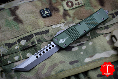 Microtech Combat Troodon Hellhound OD Green (OTF) Out the Front Knife with Apocalyptic Blade 219-10 APOD
