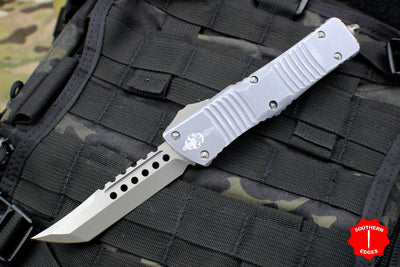 Microtech Combat Troodon Hellhound Distressed Gray (OTF) Out the Front Knife Stonewash Blade 219-10 DGY