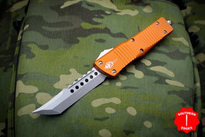 Microtech Combat Troodon Hellhound Orange (OTF) Out the Front Knife with Stonewash Blade 219-10 OR