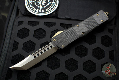 Microtech Combat Troodon Hellhound Carbon Fiber Bronzed Standard (OTF) Out the Front Knife 219-13 CF