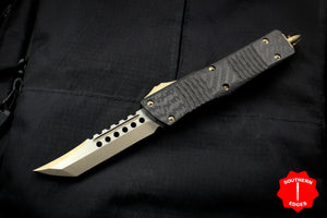 Microtech Combat Troodon Hellhound Carbon Fiber Bronzed Standard (OTF) Out the Front Knife 219-13 CF RARE DNA Spiked End!