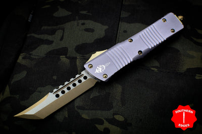 Microtech Combat Hellhound Troodon (OTF) Out the Front Knife Gray With Bronzed Hardware 219-13 GY