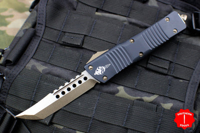 Microtech Combat Hellhound Troodon (OTF) Out the Front Knife Black With Bronzed Hardware 219-13