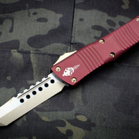 Microtech Combat Troodon Hellhound (OTF) Out the Front Knife Merlot Red With Bronzed Hardware 219-13 MR