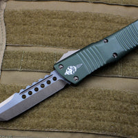 Microtech Combat Hellhound Troodon (OTF) Out the Front Knife OD Green With Bronzed Hardware 219-13 OD