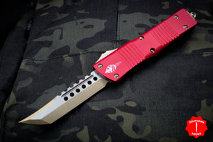 Microtech Combat Troodon Hellhound (OTF) Out the Front Knife Red With Bronzed Hardware 219-13 RD