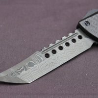 Microtech Damascus Hellhound Carbon Fiber Combat Troodon (OTF) Out the Front Knife Blue Ringed Spike 219-16 BLTI
