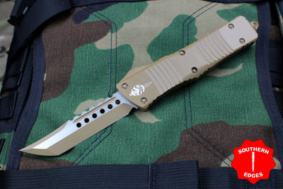 Microtech Hellhound Combat Troodon Flat Dark Earth (OTF) Black Blade 219-1 CDE