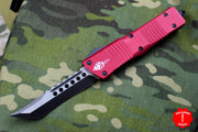Microtech Hellhound Combat Troodon Red (OTF) Black DLC Two-tone Blade 219-1 DLCRD