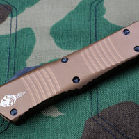 Microtech Hellhound Combat Troodon Tan (OTF) Black DLC Two-tone Blade 219-1 DLCTA