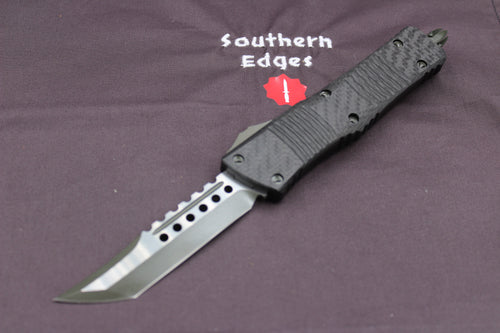 Microtech Hellhound Carbon Fiber Combat Troodon (OTF) Out the Front Knife OD Green Green Blade 219-1 GRBCF