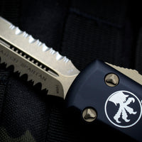 Microtech Ultratech Black Spartan OTF Knife Bronze Partially Serrated Blade 223-14