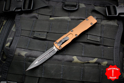 Microtech Dirac Tan Double Edge OTF Knife Black Blade HW 225-1 TA