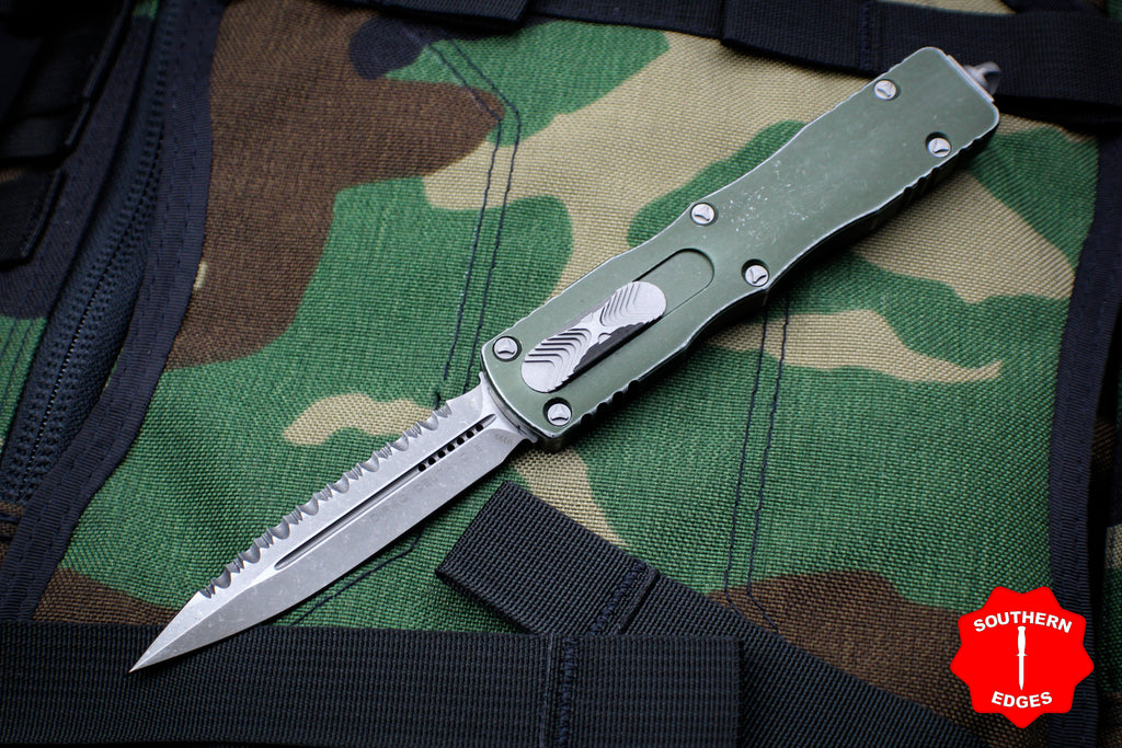 Microtech Dirac Delta Distressed OD Green Double Edge OTF Knife Apocalyptic Full Serrated Blade 227-12 DOD