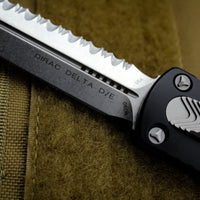 Microtech Dirac Delta Black Double Edge OTF Knife Stonewash Full Serrated Blade 227-12