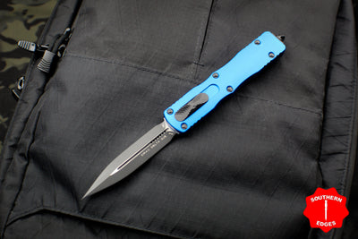 Microtech Dirac Delta Blue Double Edge OTF Knife Black Blade 227-1 BL