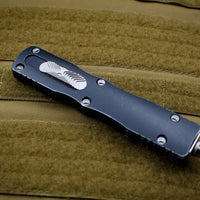 Microtech Dirac Delta Distressed Black Double Edge OTF Knife Black Blade 227-1 DBK