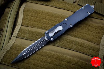 Microtech Dirac Delta Distressed Black Double Edge Double Full Serrated OTF Knife Black Blade 227-D3BK
