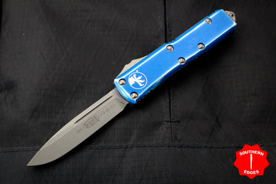 Microtech UTX-85 Distressed Blue Single Edge OTF Knife Apocalyptic Blade 231-10 DBL