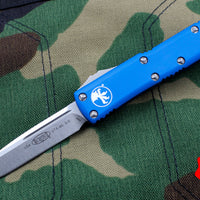 Microtech UTX-85 Blue Single Edge OTF Knife Stonewash Blade 231-10 BL