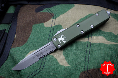 Microtech UTX-85 OD Green Single Edge OTF Knife Apocalyptic Part Serrated Blade 231-11 APOD