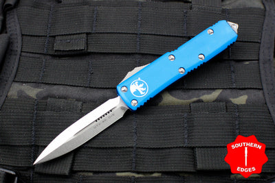 Microtech UTX-85 Blue Double Edge OTF Knife Stonewash Blade 232-10 BL