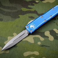 Microtech UTX-85 Distressed Blue Double Edge OTF Knife Apocalyptic Blade 232-10 DBL