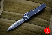 Microtech UTX-85 Distressed Black Double Edge OTF Knife Apocalyptic Full Serrated Blade 232-12 DBK