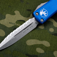 Microtech UTX-85 Blue Double Edge OTF Knife Stonewash Full Serrated Blade 232-12 BL